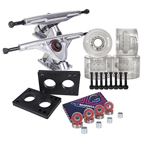 Cal 7 Longboard Skateboard Combo Package with 70mm Wheels & 180mm Lightweight Aluminum Trucks, Bearings Complete Set & Steel Hardware (Silver Truck + Transparent Clear Wheels)