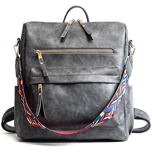 Yi-xir fashion design retrò in pelle zaino zaino borse spalla donna borsa da viaggio moda per distaff leggero e durevole (colore : grigio, dimensioni: 30 * 32 * 14 cm)