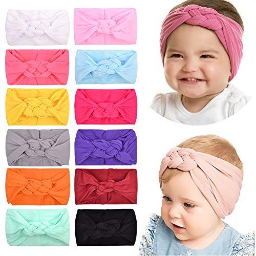 12 Stück Baby Mädchen Nylon Stirnbänder Turban Haar Schleifen Haarband Elastisches Haar Zubehör für Kinder Kleinkinder Säuglinge Neugeborene