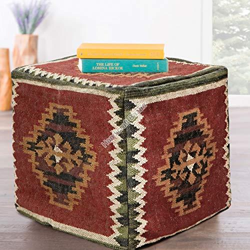 Handicraft Bazarr Funda para puf de yute de lana tejida a mano, funda para reposapiés otomano para exteriores, funda para asiento de niños de 45,7 cm