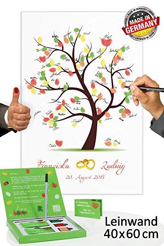 galleryy.net Fingerabdruck Leinwand 60x40 mit Namen & Datum - INKL Zubehör-Set GRATIS (Stempelkissen+Stift+Anleitung+Hochzeitsbuch+...) - Hochzeitsbaum mit Ringen - Hochzeitsbaum Fingerabdruck