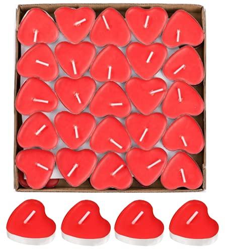 50pcs Candele a Forma di Cuore,candele romantiche Senza Fumo Candele candele matrimonio Decorazione Di Candele Candela Cuore Ideale per Matrimoni o Anniversari