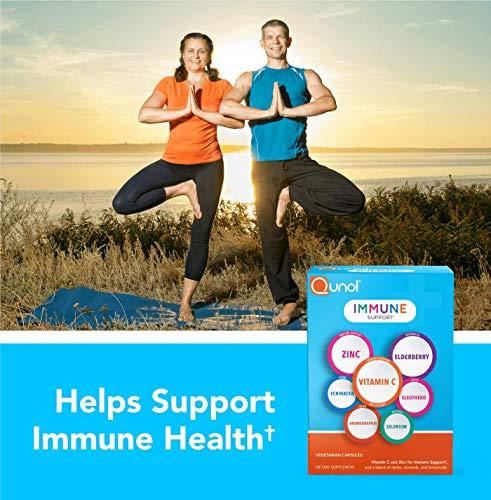 Qunol Immune Support, 7 in 1, Immune Booster, Vitamin C, Zinc, Elderberry, Echinacea, Selenium, Eleuthero and Andrographis, Vegetarian Capsules, 60 Count