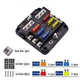 6 Way Fuse Block - Blade Fuse Box with Negative Bus,6 Circuit ATC Fuse Holder,Durable Protection Cover Fuse Box Holder 10a 15a 20a Waterproof Fuses for Automotive Car Marine Boat