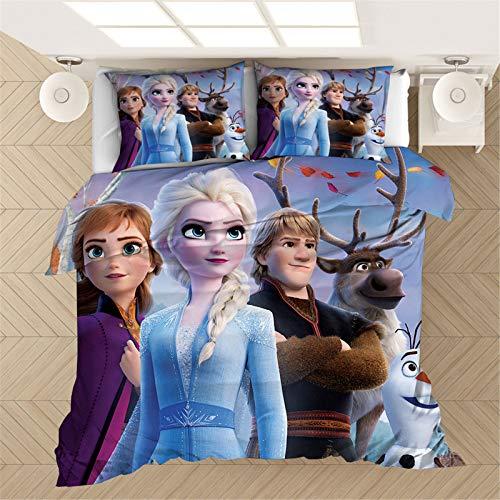 Bfrdollf Juego de cama Disney Frozen Frozen Anne Elsa Snowflake Super Suave Luxury Polyster Juego de funda de edredón de microfibra para niñas y niños (13,220 × 240 cm)