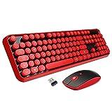Wireless Keyboard Mouse Combo, 2.4GHz Wireless Typewriter Keyboard, Letton Full Size Office Computer Retro Keyboard and Wireless Cute Mouse with 3 DPI for Mac PC Desktop Laptop-Red