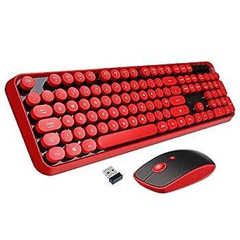 Wireless Keyboard Mouse Combo 2.4GHz Wireless Typewriter Keyboard Letton Full Size Office Computer Retro Keyboard and Wireless Cute Mouse with 3 DPI for Mac PC Desktop Laptop-Red