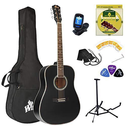 Winzz Guitare Acoustique Adulte 4/4 Débutant, Guitare Folk Noire avec Sac, Accordeur, Sangle, Plectres, Cordes Supplémentaires et Support pour Guitare (Taille 41', Matte)