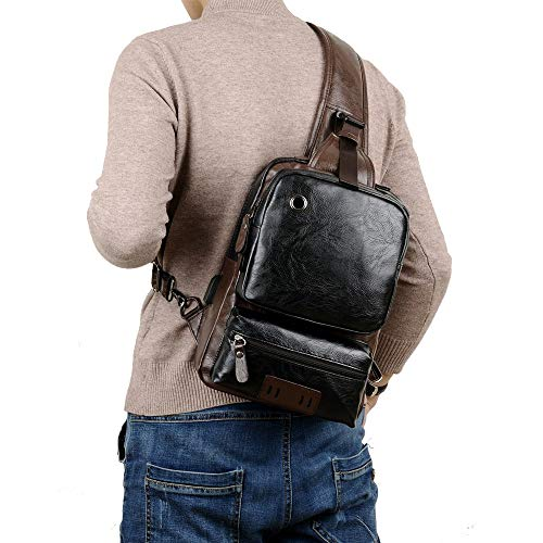 Small Black Sling Crossbody Backpack Shoulder Bag for Men Women Vintage PU Leather CrossBody One...