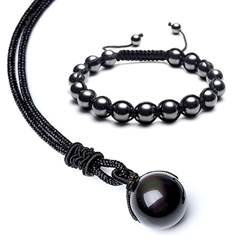 JSDDE Natural Black Obsidian Rainbow Eyes Bead Necklace w/Magnetic Bracelet Set, Healing Crystal Jewelry for Women