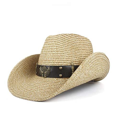 XYAL-Hats Xingyue hoed van cilinder en cowboy hoed, cowboy Western heren hollow, gevlochten strohoed met de hand
