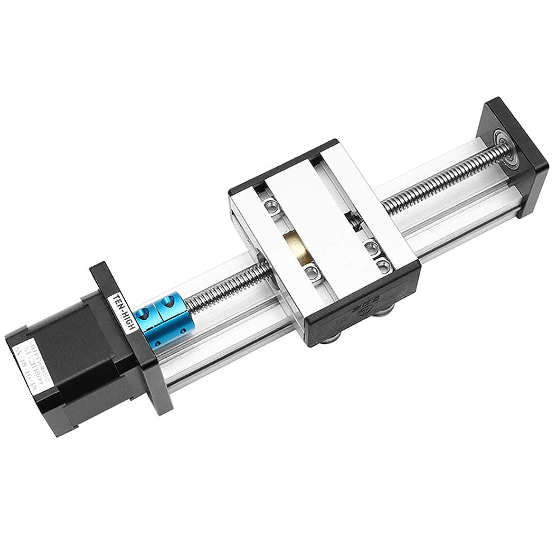 TEN-HIGH スライドガイド 台形ねじ スライダー ステッピングモータ(NEMA17) モジュール 有効ストローク600mm(STシリーズ T8*2型)