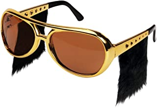 Ocean Line Elvis Sunglasses with Side Burns - Funny Rockstar Costume Aviator Glasses with Wigs, Fun Gold 70s Disco Accessories