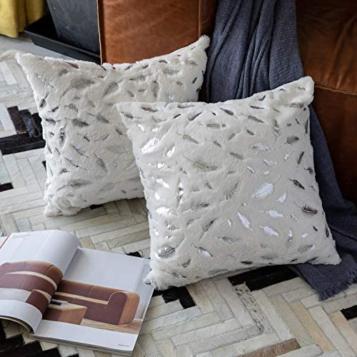 OMMATO Throw Pillows Covers 18 x 18 Set of 2 White Fur with Silver Leaves Soft Throw Pillows product image