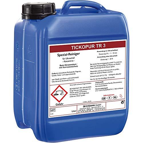 Tickopur TR 3 (5 liter), Ultraschallflüssigkeit für Vergaser und vieles mehr! | Reinigungskonzentrat mit Dosierung von 5 Prozent, Ultraschall Reinigungsmittel für Aluminium