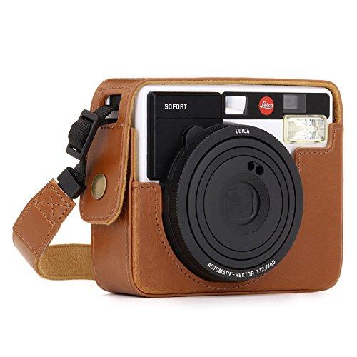 MegaGear Ever Ready Leder Kamera Schutzhülle für Leica Sofort Instant Hellbraun