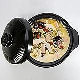 Casseruola in ceramica Pentola di terracotta di argilla, pentola del forno olandese con coperchio per cucinare pentola calda Bibimbap e zuppa, creazione di pane, cottura argilla, doppia maniglie, nero