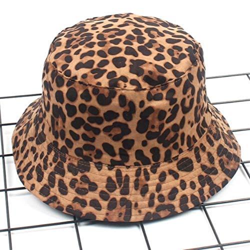 QQSA Leopardo Reversible Femenina del Sombrero del Cubo de Hip Hop Impresa de Las Mujeres del Verano Casquillo al Aire Libre Pesca Mayor de los Zapatos Cap Gorra for el Sol Mujer