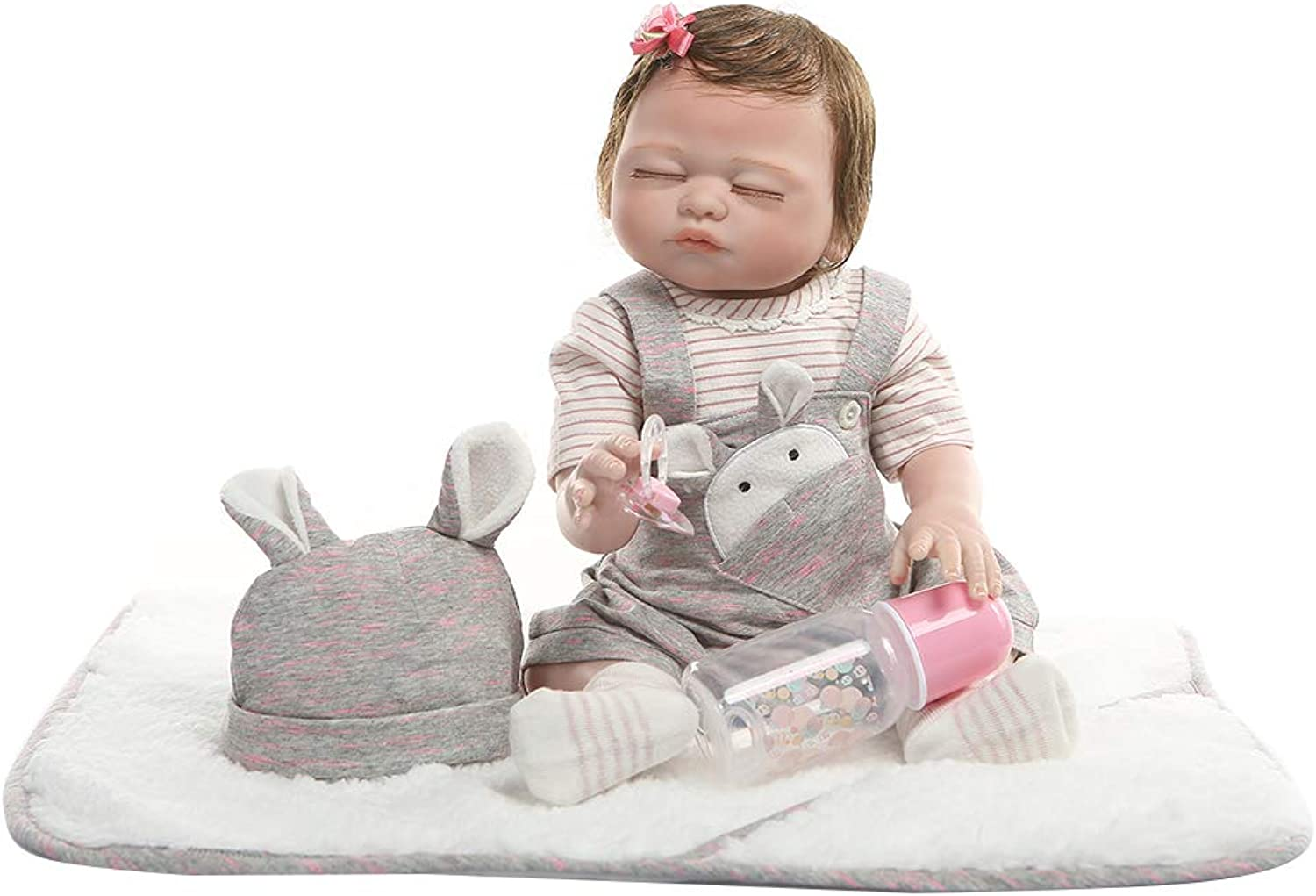 Huiouer 19in Reborn Doll Realistic Full Silicone Vinyl Newborn Baby Toy Girl Princess Clothes Pacifier