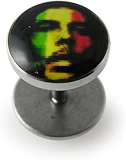 Rasta Bob Marley Logo Picture Top 16 Gauge Surgical Steel Fake Ear Plugs Gauge Earring