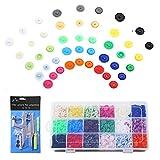 Viesap Botón Presión, Alicates De Presión (T3, T5, T8) + 450 Set Resin T5 Botones De Plástico Botón De Presión De Resina 18 Colores, Snaps Plástico Botones Redondos Para DIY Ropa Accesorios.