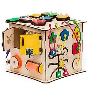 Aktivitätswürfel Holz 10 in 1 Motorikwürfel Montessori Aktivitätsbrett Entwickelndes Spielzeug Beschäftigtes Brett…