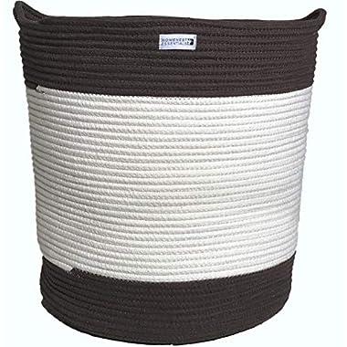 HOMENEST ESSENTIALS Cotton Rope Storage Basket Large 18 Inches x 16 Inches | XL Woven Storage Basket, Espresso | Home Organization, Children's Rooms, Nurseries, Laundry