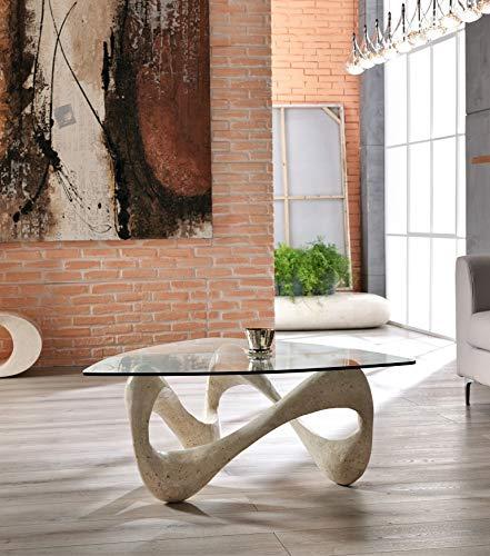 Stones Tetris Table basse de salon, sable, 100 x 100 x 40 cm