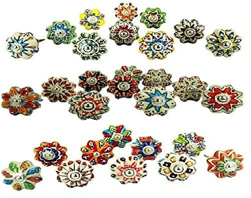 Lot of 30 Knobs Multicolor Rare Hand Painted Ceramic Knobs Cabinet Drawer Pull Indian Mix Knobs