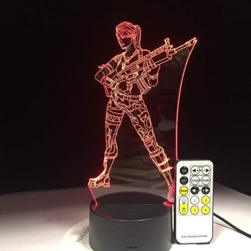 Jiushixw 3D acryl nachtlampje met afstandsbediening kleurverandering tafellamp standaard voet pincet grote vrouw vrouwelijk gezicht activiteit Disney woonkamer lamp