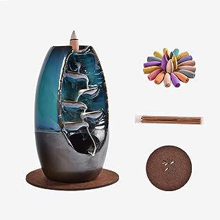 KUOTIAN Ceramic Backflow Incense Holder Waterfall Incense Burner Aromatherapy Ornamental Home...