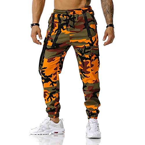 Pantalones Carga Hombre Moda Callejera , Pantalón de Camuflaje Casual Deportivo Estilo Hip Hop para