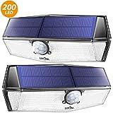 LITOM 200 Leds Luz Solar de Exterior, Impermeable IP67, Lampara Solar de 3-8M Detección, 270° Ángulo de Iluminación, PIR Sensor de Movimiento,Fácil de Instalar