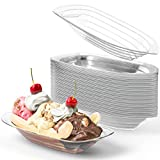 Super Fun, Recyclable Banana Split Boats 50 Pack. Best Long, 8 Oz Disposable Ice Cream Sundae Bowls. Perfect Plastic Sunday Cups for a Social or Kids Birthday Party. Great Clear Boat for Carnivals