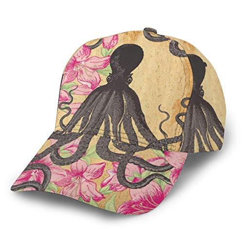 Baseballkappe Kraken Octopus Rosen Blätter Tentakel Octopi Vintage Erwachsene Unisex Fashion Baseballkappe Trucker Hat Verstellbarer Strapback