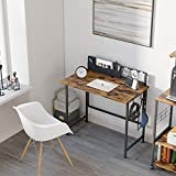 Bestier 35' Folding Computer Desk with Cloth Bag Hook and Magnetack, Simple Style Writing Table for...