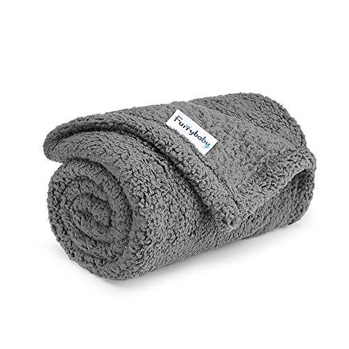 furrybaby Premium Flauschige Fleece Hundedecke,Weiche und Warme Hündchen Decke für Hund und Katze (S 60 * 80cm, Grau)
