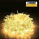 Guirlande Lumineuse [Lot de 2], Mini Guirlande LED a Pile 10m 80 LEDs Intérieur et Extérieur Décoration Lumière pour Chambre Noël Mariage Soirée Maison Jardin (Blanc Chaud) [Classe énergétique A+++]
