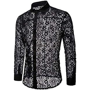 Mstyle-UK Men Trendy Hollow Out Long Sleeve Lapel Collar Pure Color Lace Button Down Dress Work Shirt Black 2XL:Comoparardefumar