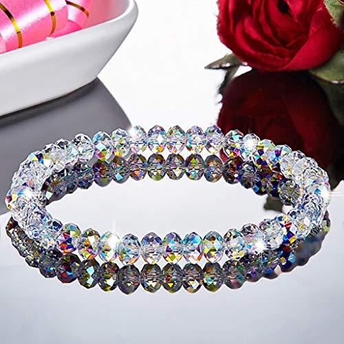 Pulsera de cristal de Rongzou hecha a mano de cristal con cuentas pulseras elásticas para mujer