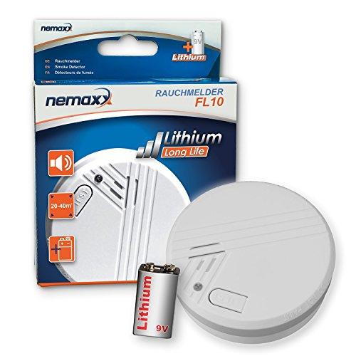 Nemaxx 1FL10 1x FL10 Lithium-Batterie betriebener Rauchmelder Brandmelder Feuermelder Warnmelder 10...