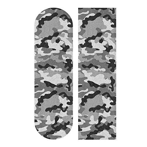"Gray Camouflage Skateboard Grip Tape Sheet Scooter Deck Sand Paper Anti Slip Sandpaper Longboard Griptape 9"" x 33"""
