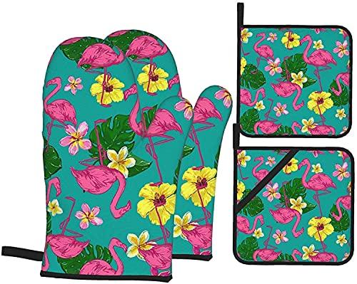 Flamingos - Juego de guantes y soportes para horno, resistentes al calor, guantes de cocina antideslizantes para parrilla, cocina, hornear, barbacoa, microondas