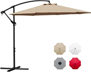 Sunnyglade 10' Outdoor Adjustable Offset Cantilever Hanging Patio Umbrella (Tan)