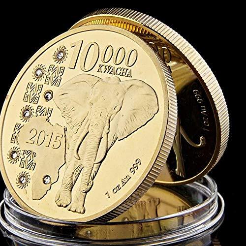 nxychunmei GHNM2015 República de Zambia 1oz.999 Colección de Monedas Conmemorativas de Animales de Oro 10000 Kwawa Elefante Africano