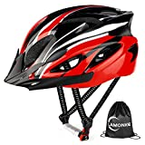 Mountain Bike Helmets Adjustable Size Riding Adult Bike Helmet for Adult Men&Women Youth with Detachable Visor & Replacement Pads CPSC Certified (Black+Red)