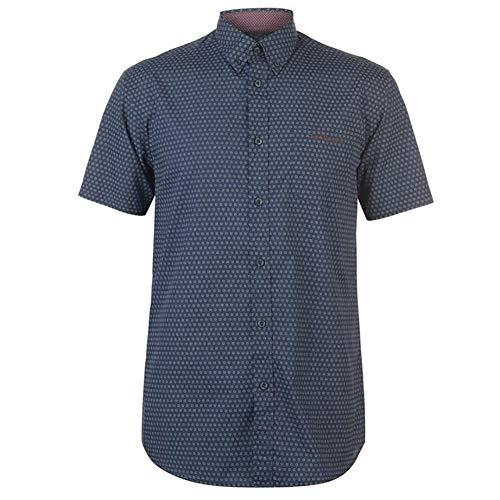 Pierre Cardin Hombre Camisa de Manga Corta Estampado Cuadros o Geométrico con Bordado de Firma (2XL, Navy/White/Burgundy)