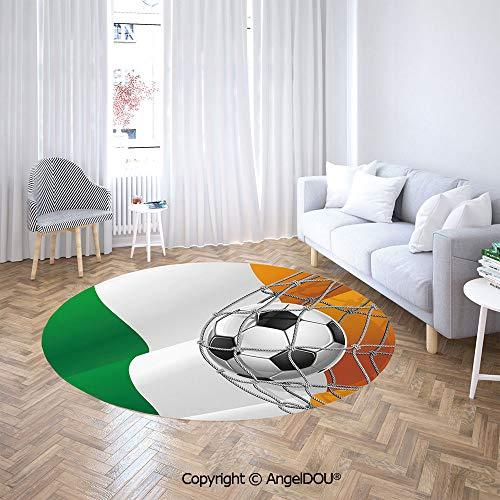 Homenon Area Rugs, Non-Slip Round Rug, Sports Theme Soccer Ball covid 19 (Louisville Football Rug coronavirus)