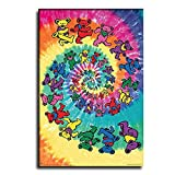 GAWIN Grateful Dead Tie Dye Bears Canvas Art Poster and Wall Art Picture Print Modern Family Bedroom Decor Posters 12×18inch(30×45cm)