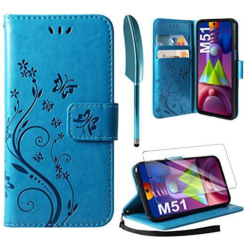AROYI Lederhülle Kompatibel mit Samsung Galaxy M51 Hülle & Schutzfolie, Flip Wallet Handyhülle PU Leder Tasche Hülle Kartensteckplätzen Schutzhülle Kompatibel mit Samsung Galaxy M51